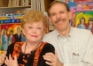 Rue with Peter Max at fundraiser at his studio