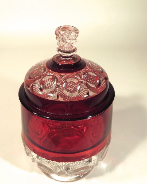 Rue's Ruby Red Depression Glass Covered Candy Jar [SOLD
