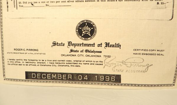 rue's certified birth certificate [sold] | the estate of rue