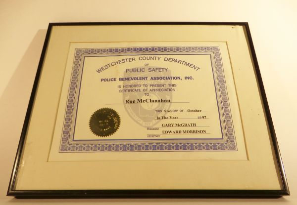 Rue\'s Certificate of Appreciation From The Police | The Estate of Rue