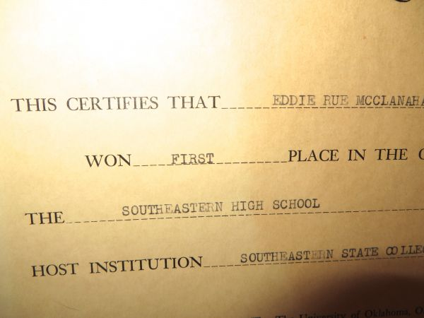rue s certificate and medal for first place in 1952 radio speech