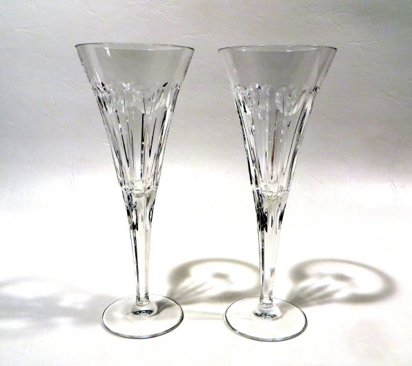 these waterford crystal champagne flutes are very heavy but after hefting one a few times it gets much easier for some reason these are tall glasses too - Crystal Champagne Flutes