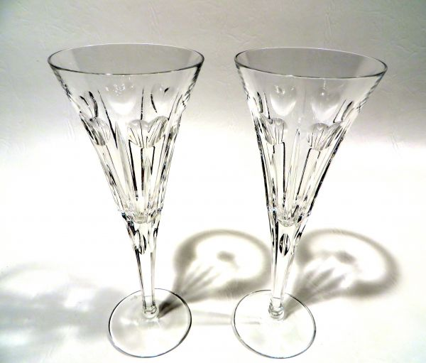 rueu0027s pair of waterford heart lead crystal champagne flutes sold - Crystal Champagne Flutes